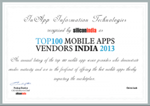 SiliconIndia ranks InApp among the Top 100 Mobile App Vendors in India